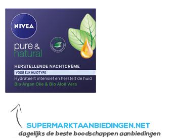 Nivea Pure & natural nachtcreme aanbieding