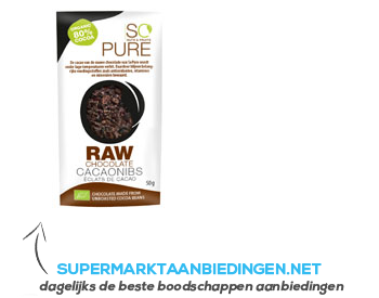 So Pure Raw chocolate cocoa nibs aanbieding