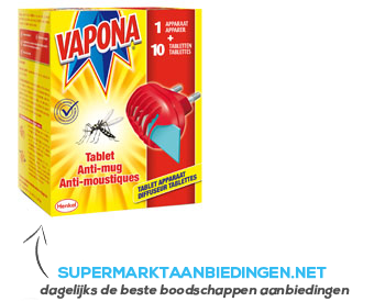 vapona antimug apparaat met 10 tabletten aanbieding